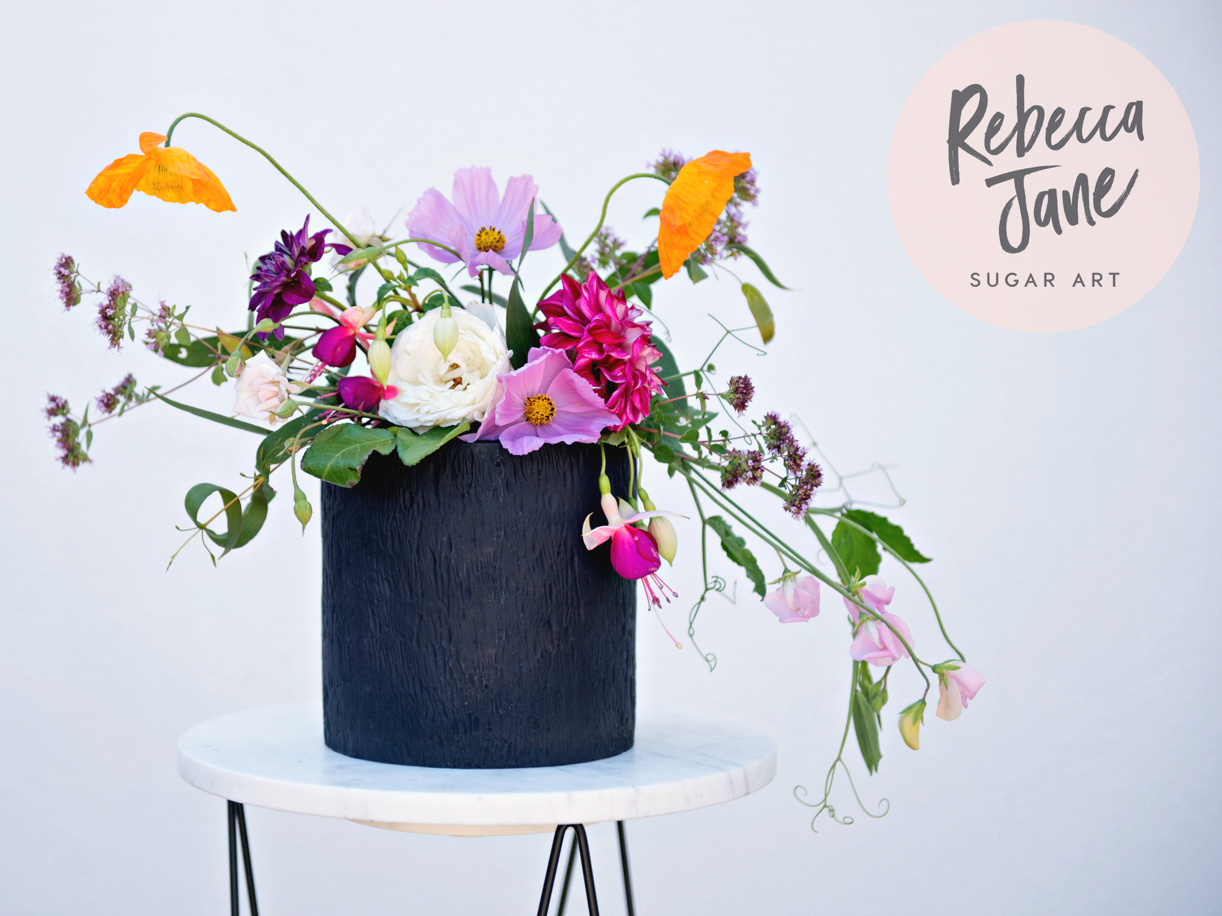 Rebecca Jane Sugar Art - organic floral bouquet black wedding cake