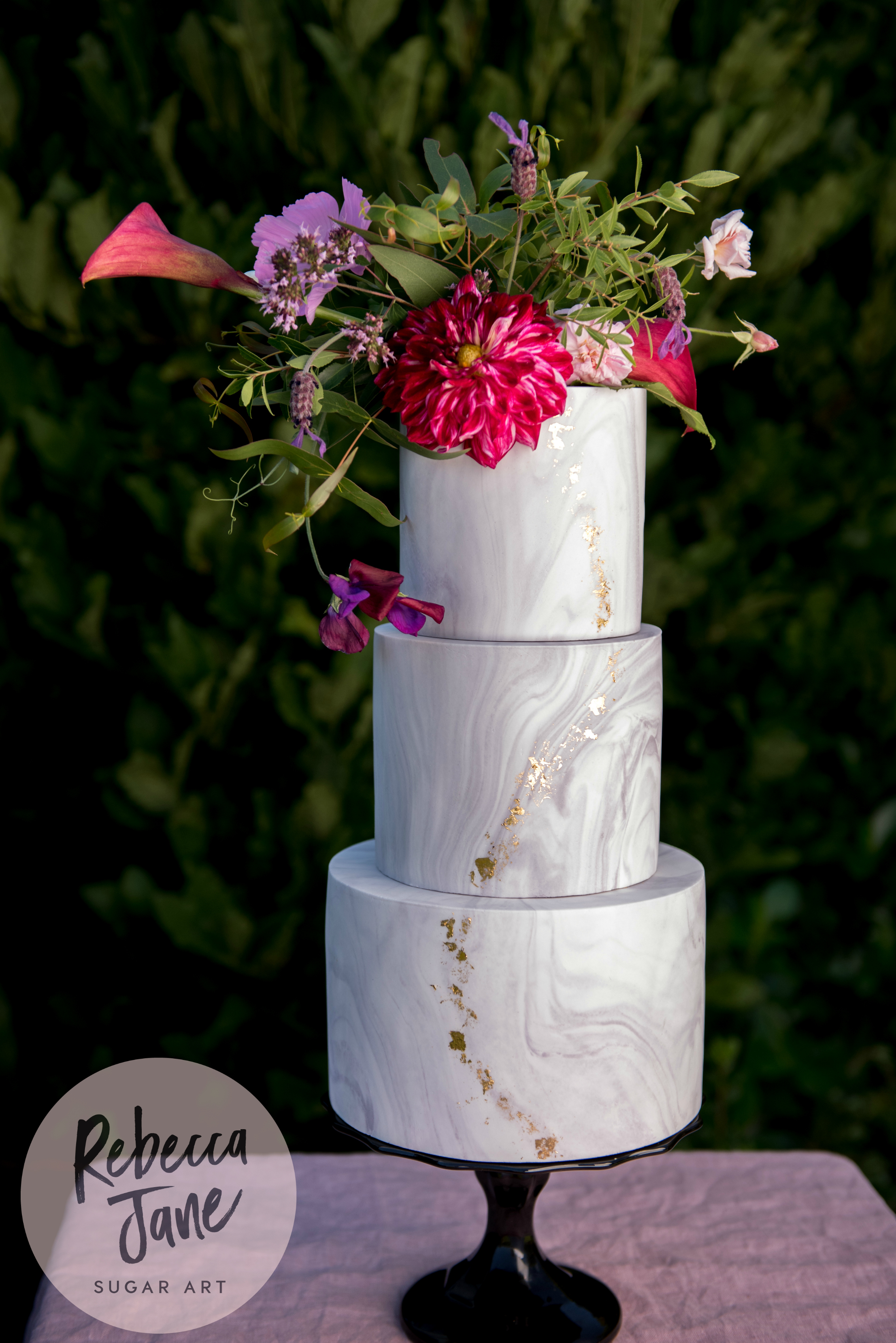Rebecca Jane Sugar Art - floral marble gold leaf wedding cake