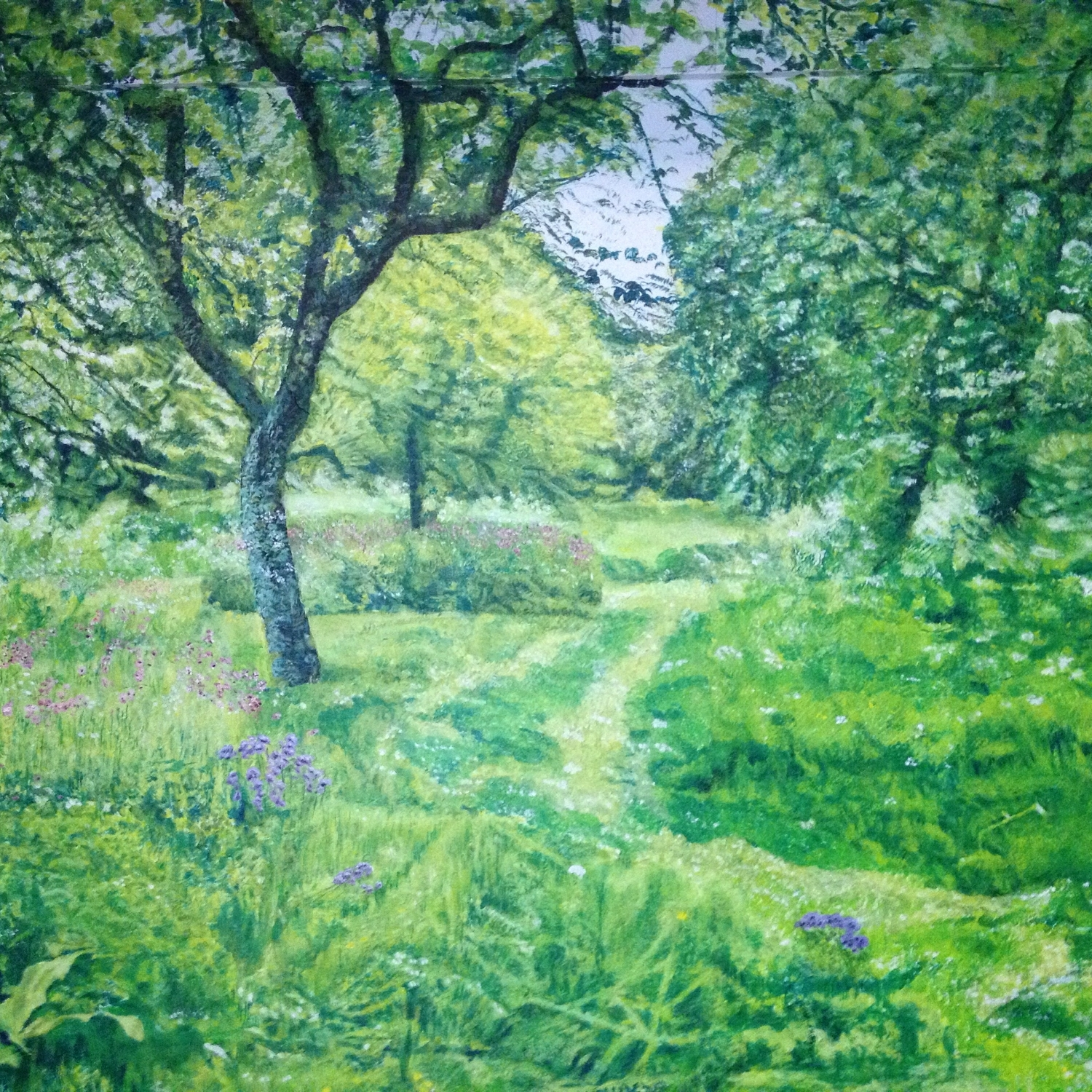 Central part of Hidcote Garden Orchard in May Mural