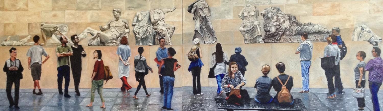 Elgin Marbles observing gallery goers
