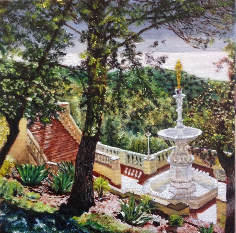 San Simeon Fountain and Pacific Ocean