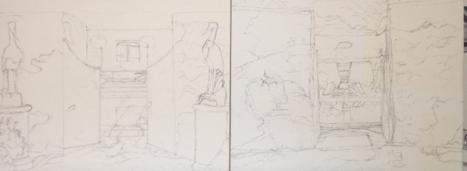 Sketch on two canvases