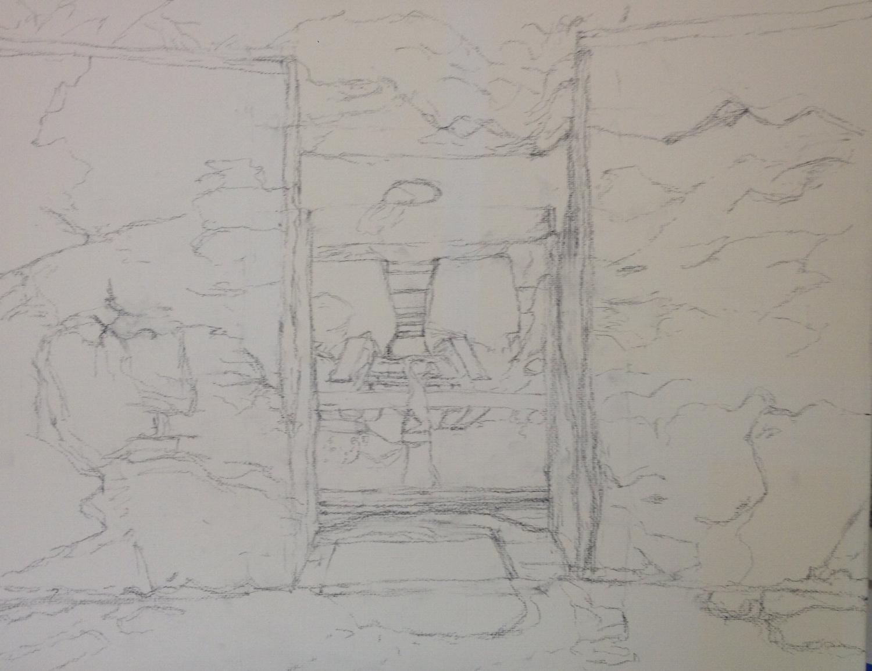 Sketch on canvas: Hidcote room
