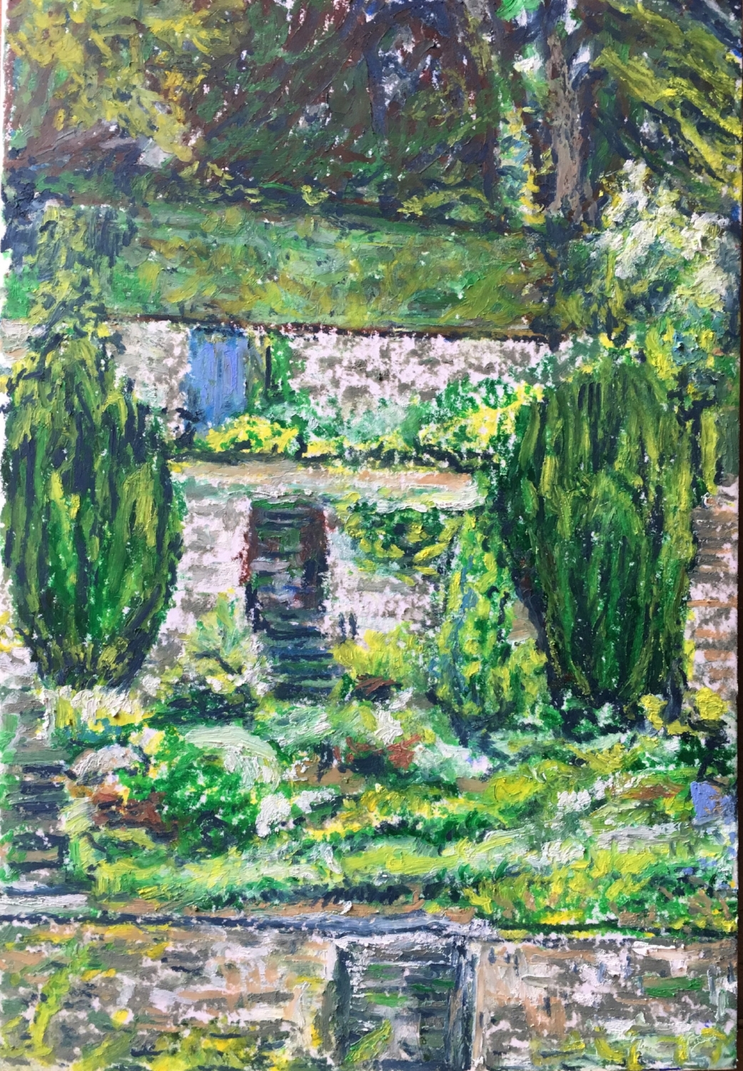 Garden in Edinburgh (Oil Pastel 9x6 in - May 30 2018)