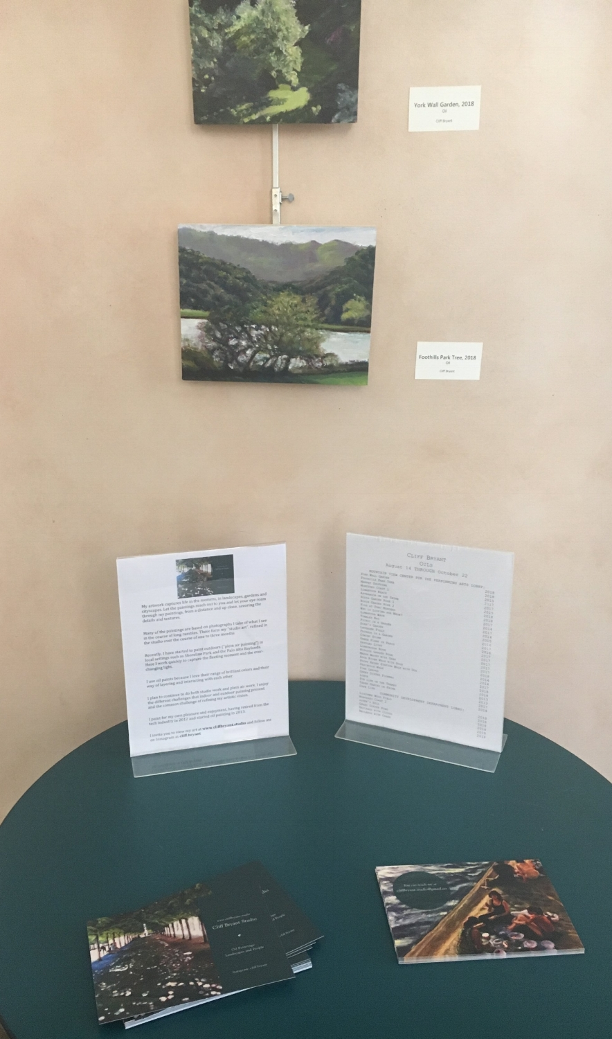 Artist statement and postcards