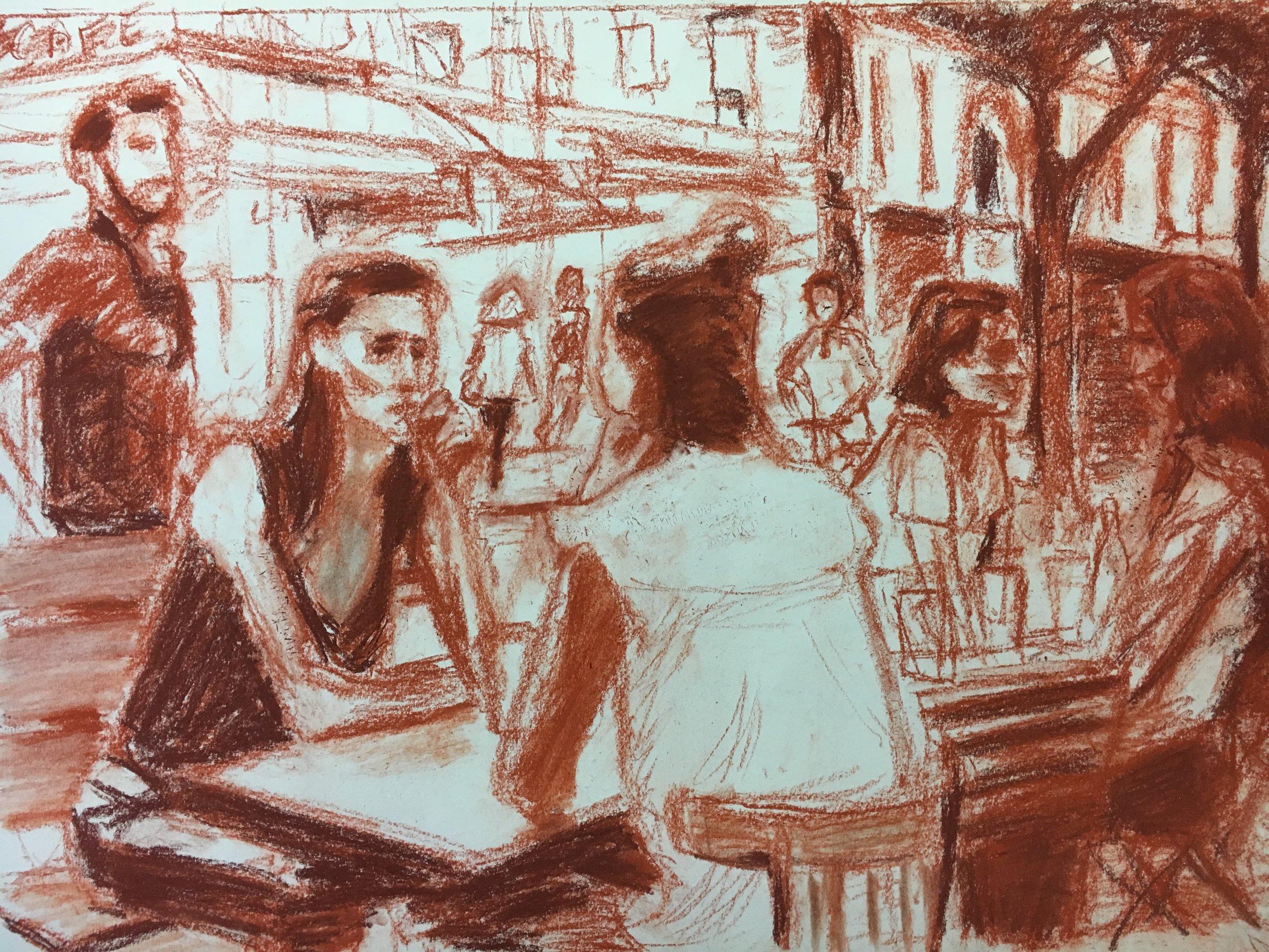 Cafe life on Rue Montmartre