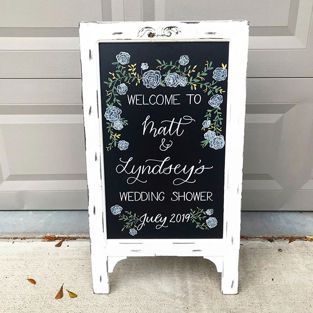 This rental chalkboard easel has quickly become a hot commodity among the party world. It's been customized and welcoming guests to showers and parties all year long. • • • • • #houstonweddingshower #houstonchalkboardrental #houstonchalkartist #houstoncalligraphy #houstoncalligrapher #houstoneventcalligraphy #houstoneventcalligrapher #weddingshowerchalkboard