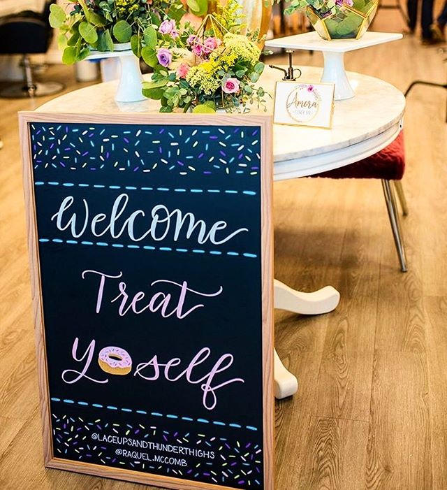 """I just realized that I never shared this cute welcome sign I did for an event hosted by houston bloggers @laceupsandthunderthighs and @raquel.mccomb  Happy Friday! Go on, """"treat yo self"""". • • • • • #treatyoself #welcomesign #chalkboardcalligraphy #chalkhandlettering #houstoncalligrapher #houstoncalligraphy #houstonhandlettering #chalkart #houstonchalkartist #houstonchalkart #houstoneventcalligraphy #houstoneventcalligrapher"""