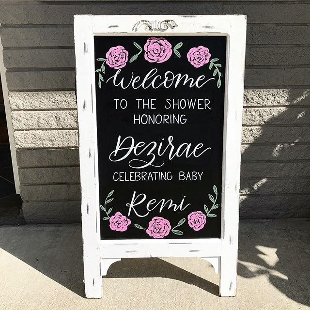 One of my favorite parts of this job is getting asked to be a small part of old, school friend's special life moments! Congratulations, Dez! There is no doubt that Remi will be gorgeous, just like you! •  This chalkboard rental is still making its way around Houston, book it for your next event! • • • • • • • • #babyshowerchalkboard #houstonchalkboardrental #houstoncalligraphy #houstoncalligrapher #houstonchalkart #babyshowerwelcomesign