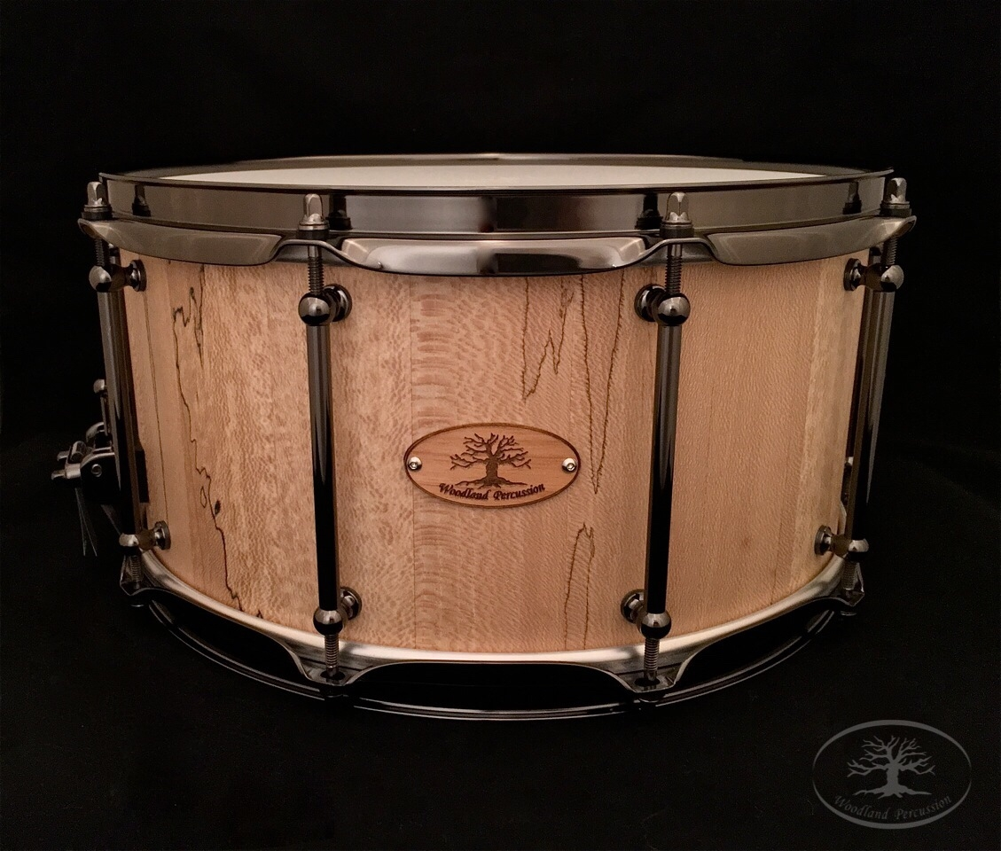 """ The White Lodge ""  Custom Snare designed For Jason Rubal of Seventh Wave Studio   14x7x1/2 Spalted Sycamore  Natural Finish with Black Chrome hardware"