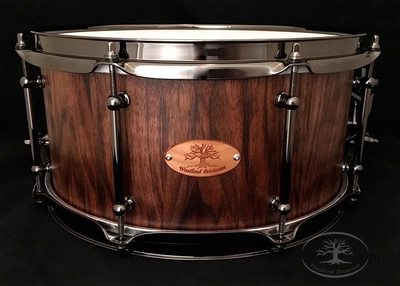 13x6.5x1/2 Curly Walnut  Black chrome hardware with a Natural Oil Finish