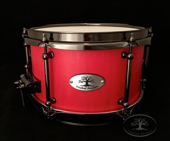 10x6x1/2 Hard Maple   Black Chrome Hardware with a Scarlet Red Stain Finish