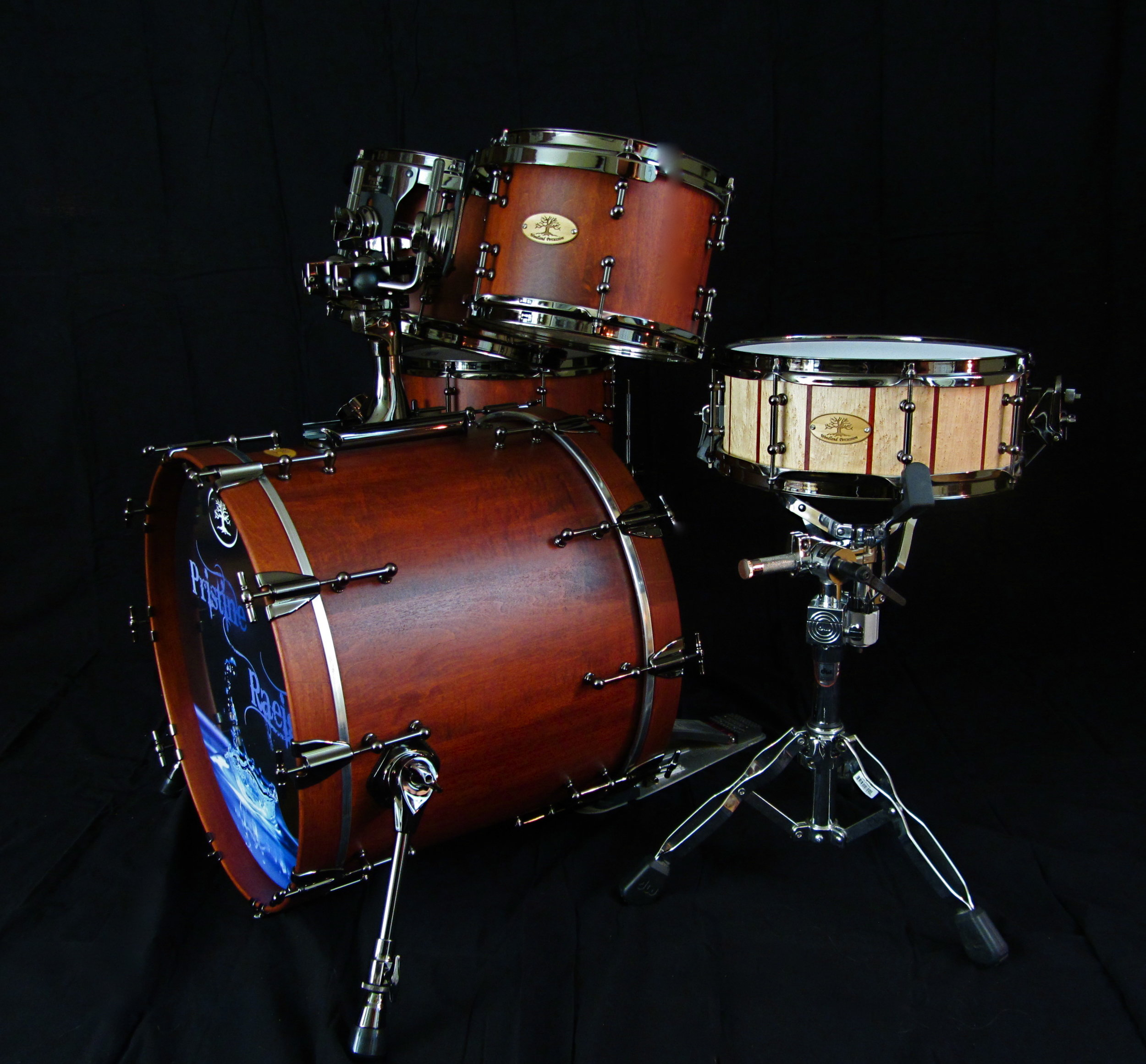 Hard Maple Kit   Weathered Cherry Stain with Black Chrome Hardware  20x16, 14x13, 12x8, 10x7  13x5 Birdseye Maple Snare with Padauk accent stripes.