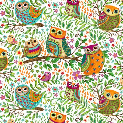 Spring Awakens Fabric Owls by Debi Hron for Henry Glass