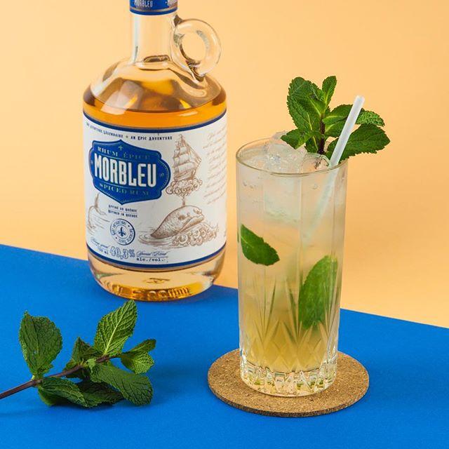 Un petit mojito au rhum Morbleu de la distillerie @spiritueuxiberville pour nous rappeler la chaleur de l'été!🌿🌞🍹 ~ 1.5oz rhum épicé Morbleu 0.5oz jus de lime frais 0.5oz sirop de menthe maison 2-3oz club soda Feuilles de menthe
