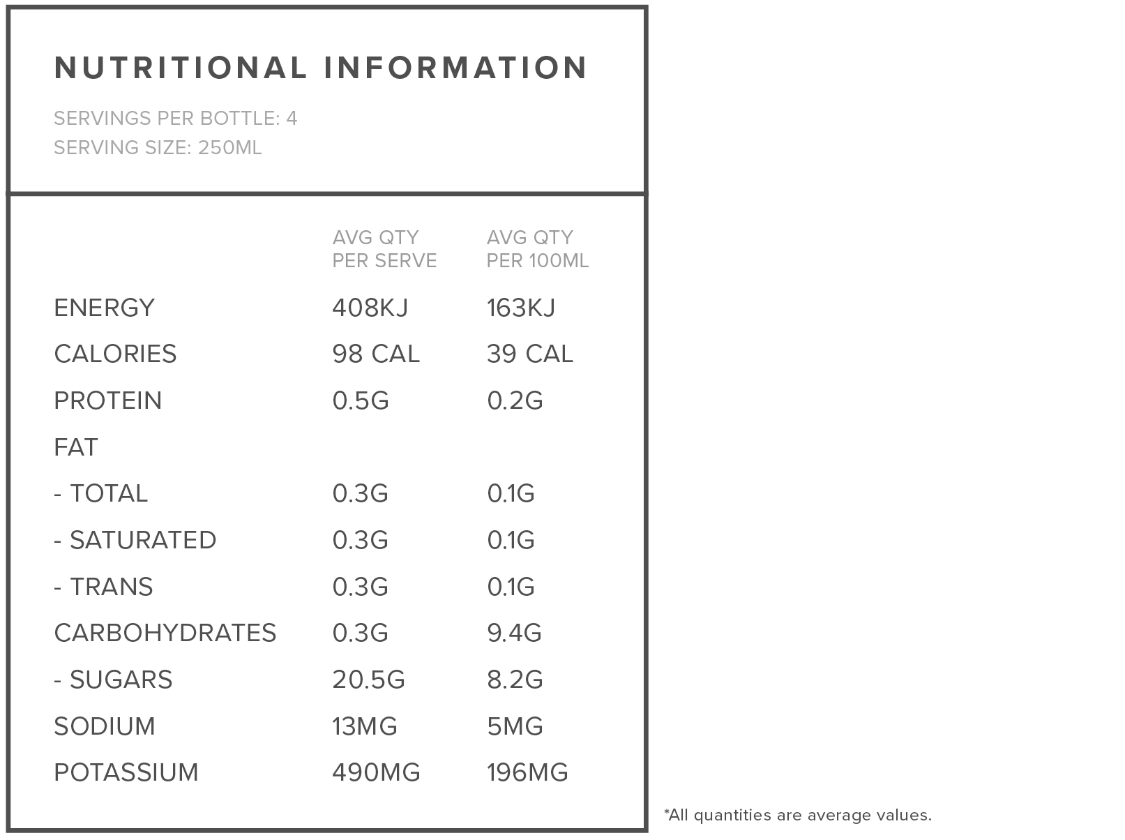 Ingredients: 100% Reconstituted Pomegranate Juice