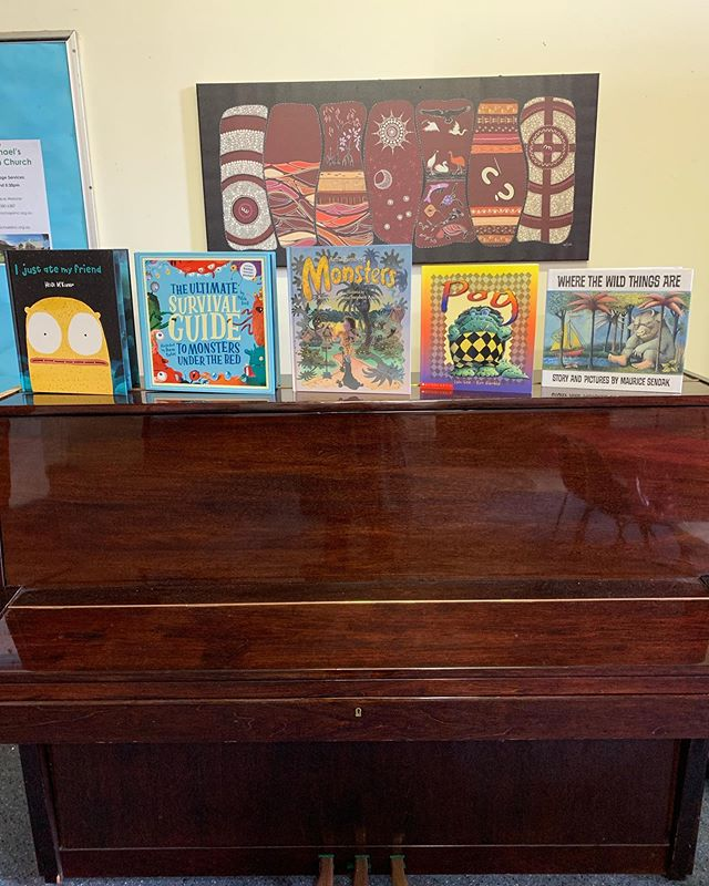 First class in our new Carlton North location! Figuring out where to display today's books...I think I like the piano! Can you guess this week's theme?? #picturebooks #kidsclass #preschoolers #shelfie