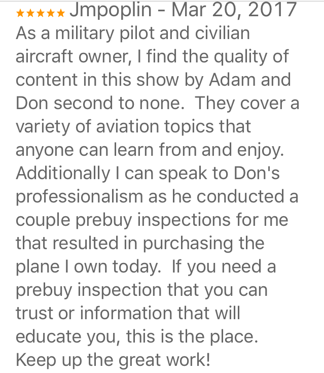 Aircraft owner, pilot and podcast listener reviews Airplane Intel Podcast on iTunes
