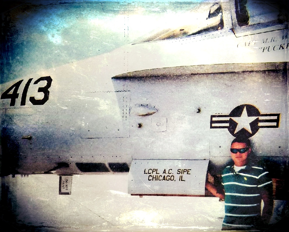 Adam shown next to his F/A-18C Hornet in Beaufort, SC