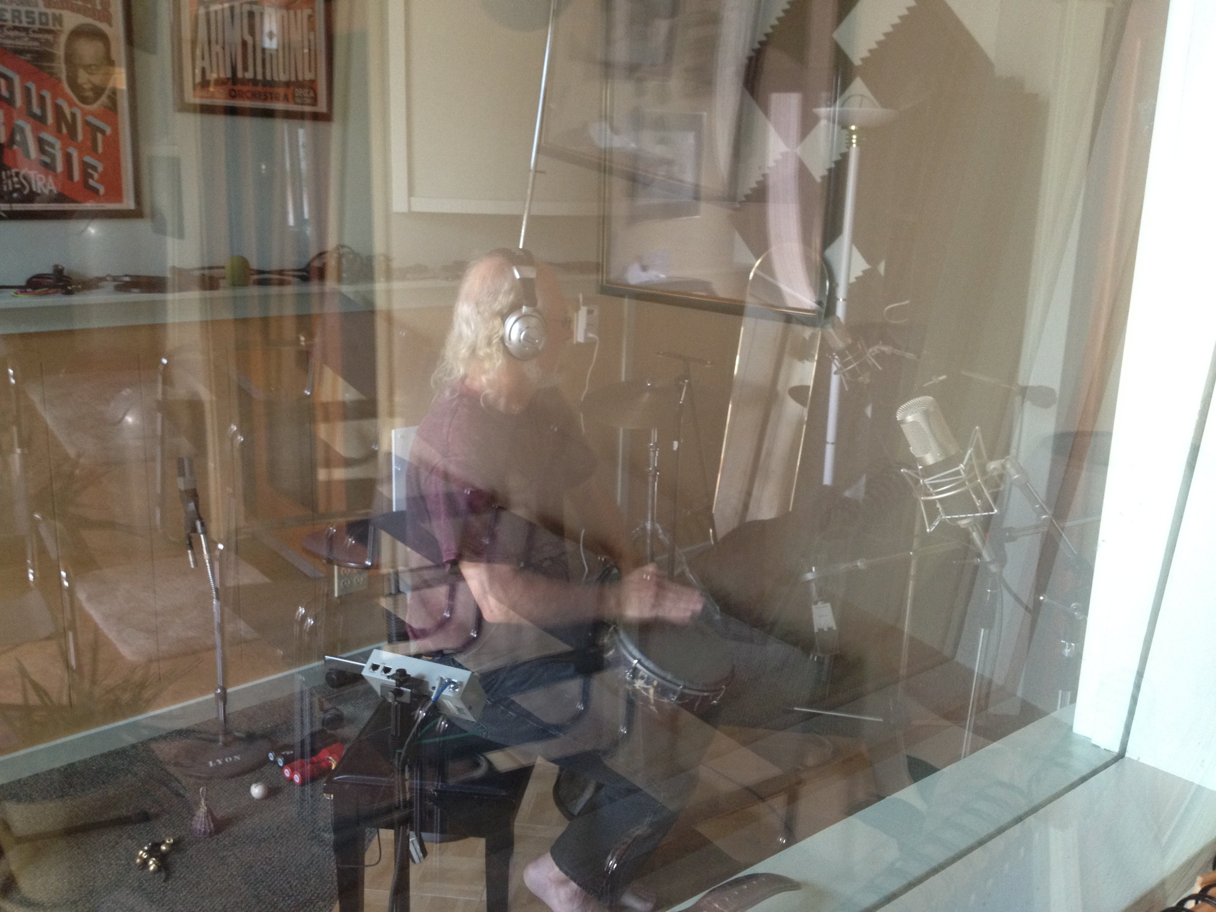 Ian on Doumbek at the Banquet Sound Studios