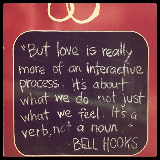 bell hooks quote on sidewalk chalkboard of   Five Pins Project   acupuncture, San Francisco