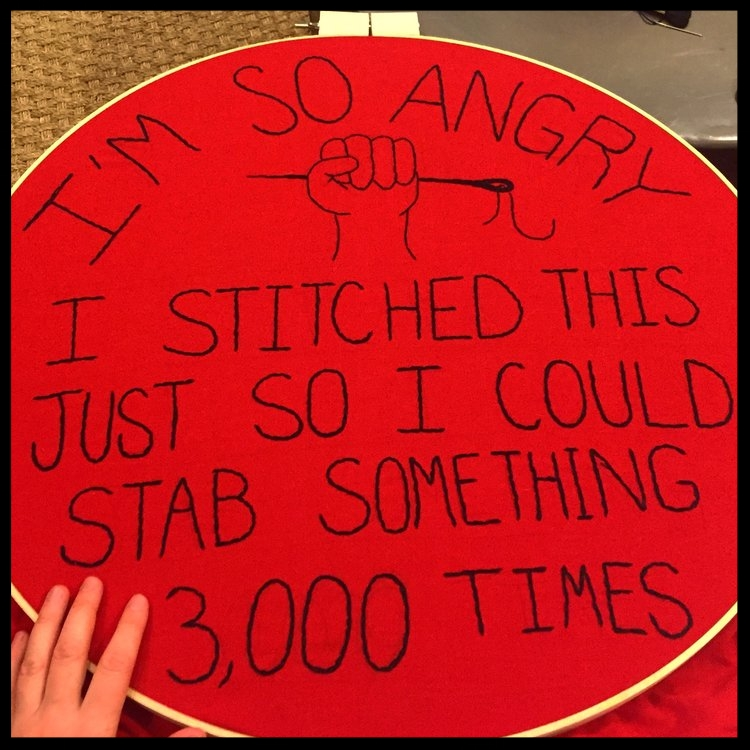 Shannon, of Bad Ass Crossstich, made a  protest sign for The Women's March, 2017 http://www.badasscrossstitch.com/craftivism/