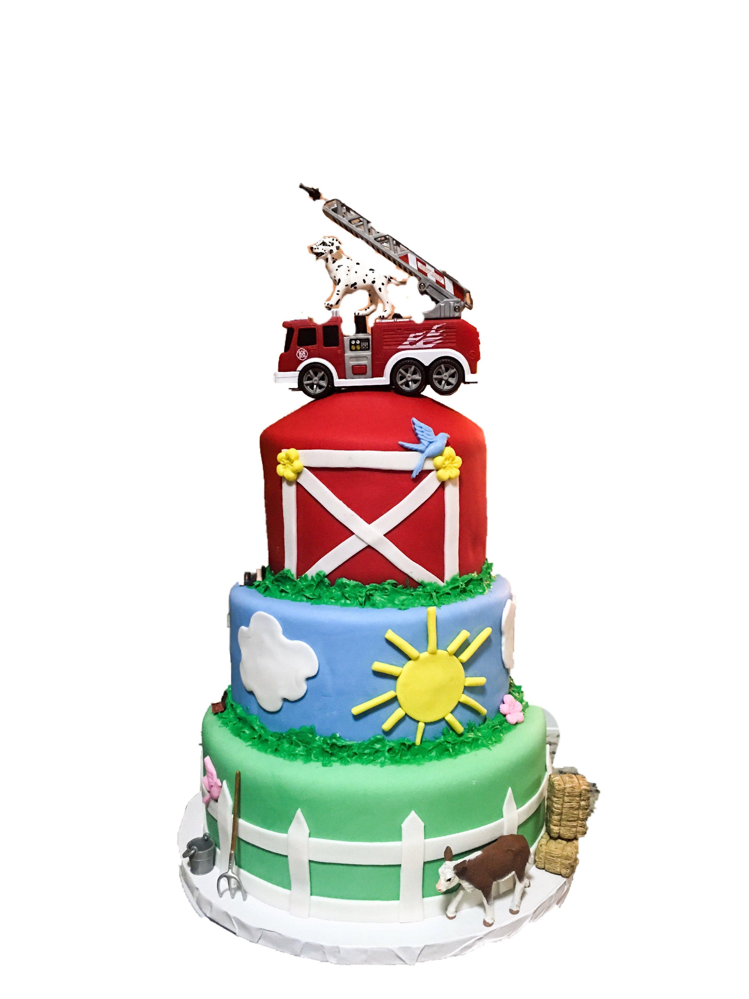 Custom Farm & Fire Truck Cake