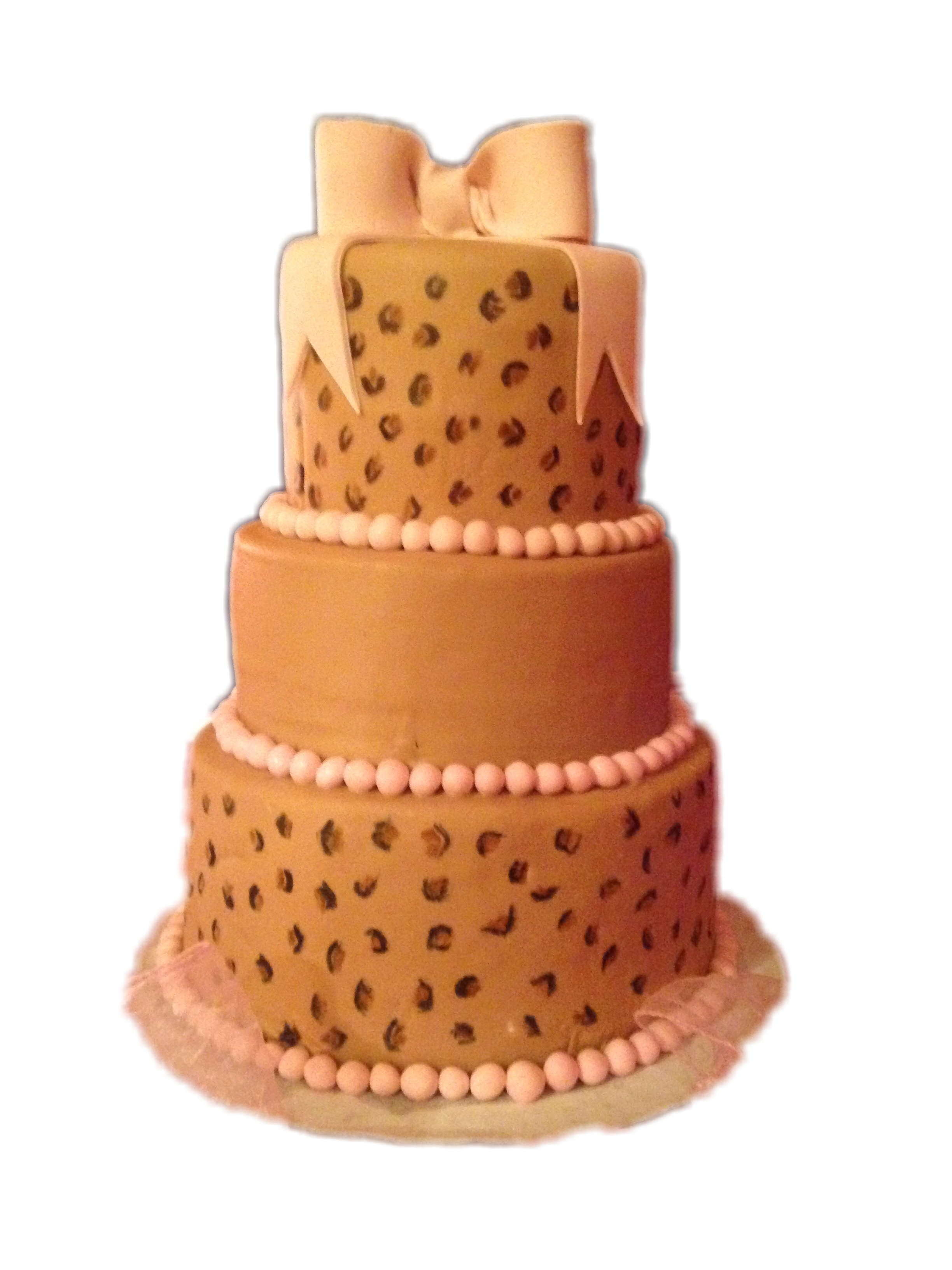 Three tiered leopard cake