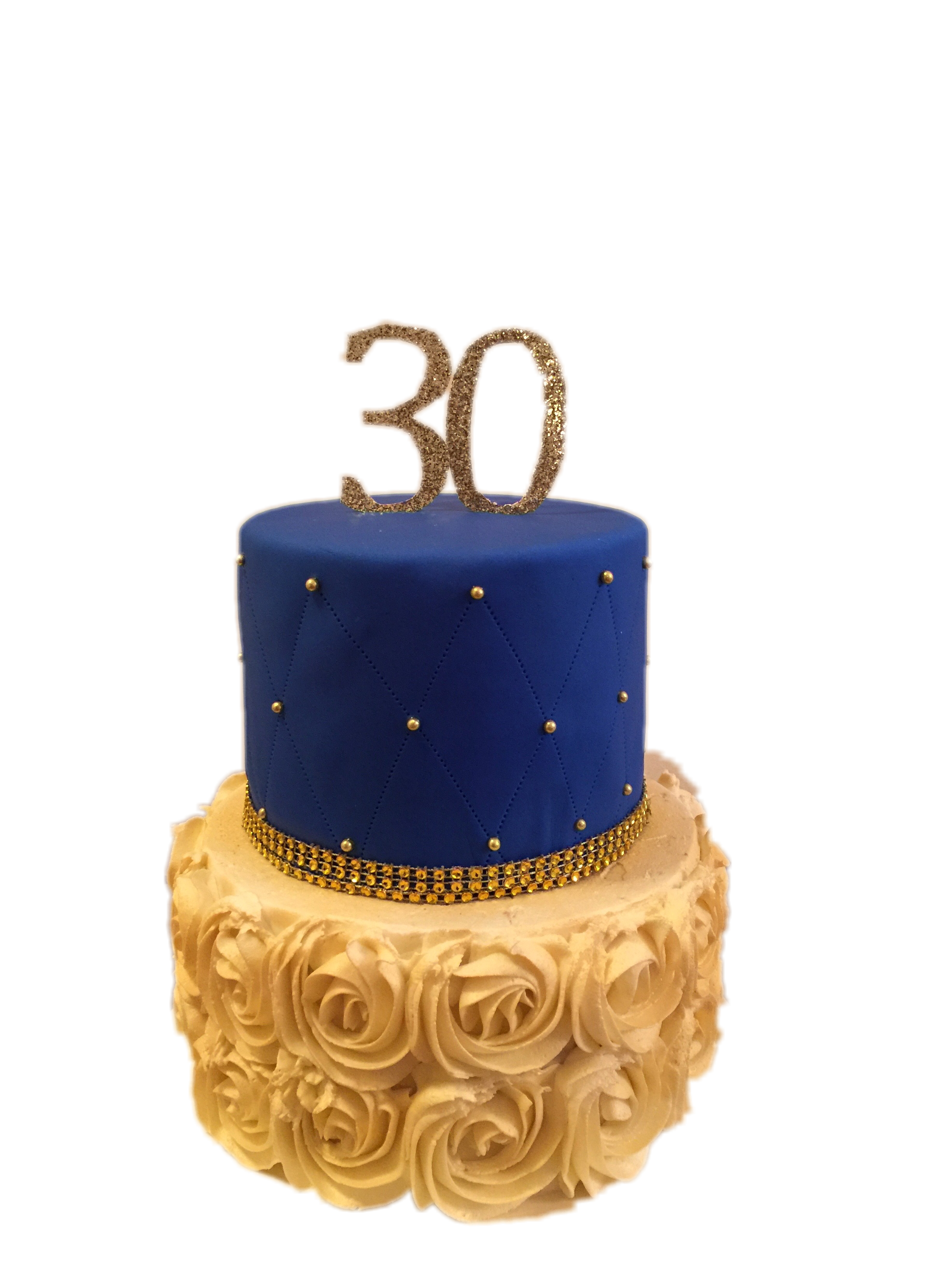 Quilted Gold & Royal blue cake