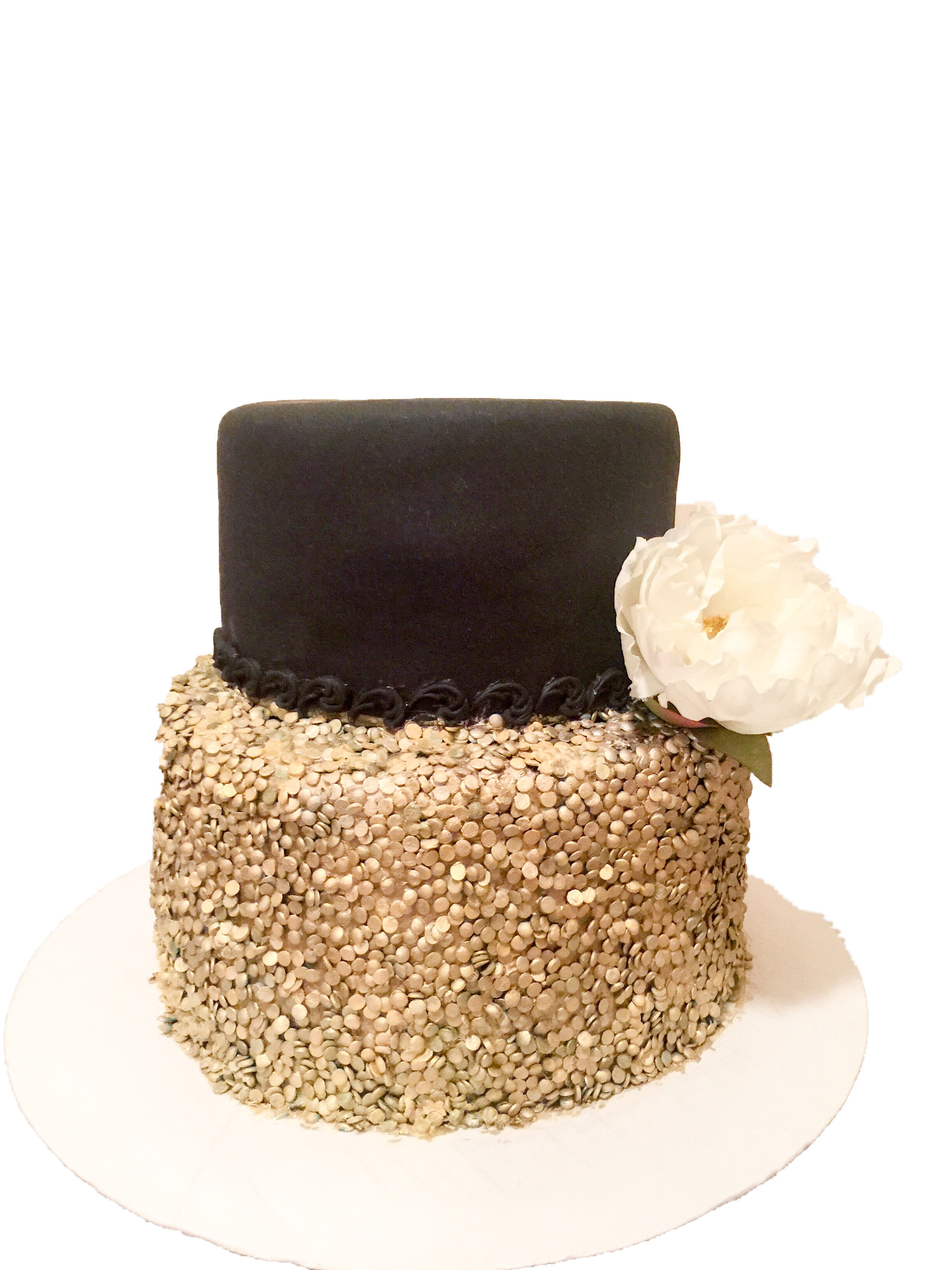 Black and Gold Sequins cake