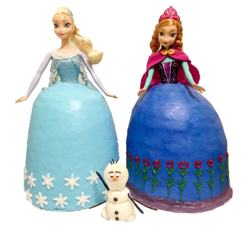 Frozen Elsa & Ana Doll Cakes