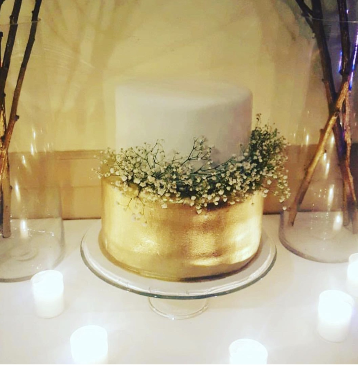 Gold and Baby Breathe Cake