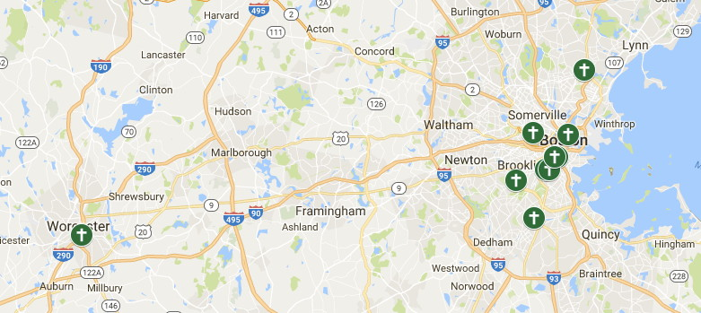 Map of Ethiopian Churches in Greater Boston. Data source: Emmanuel Gospel Center's Boston Church Directory, 2017. Click for  interactive map .