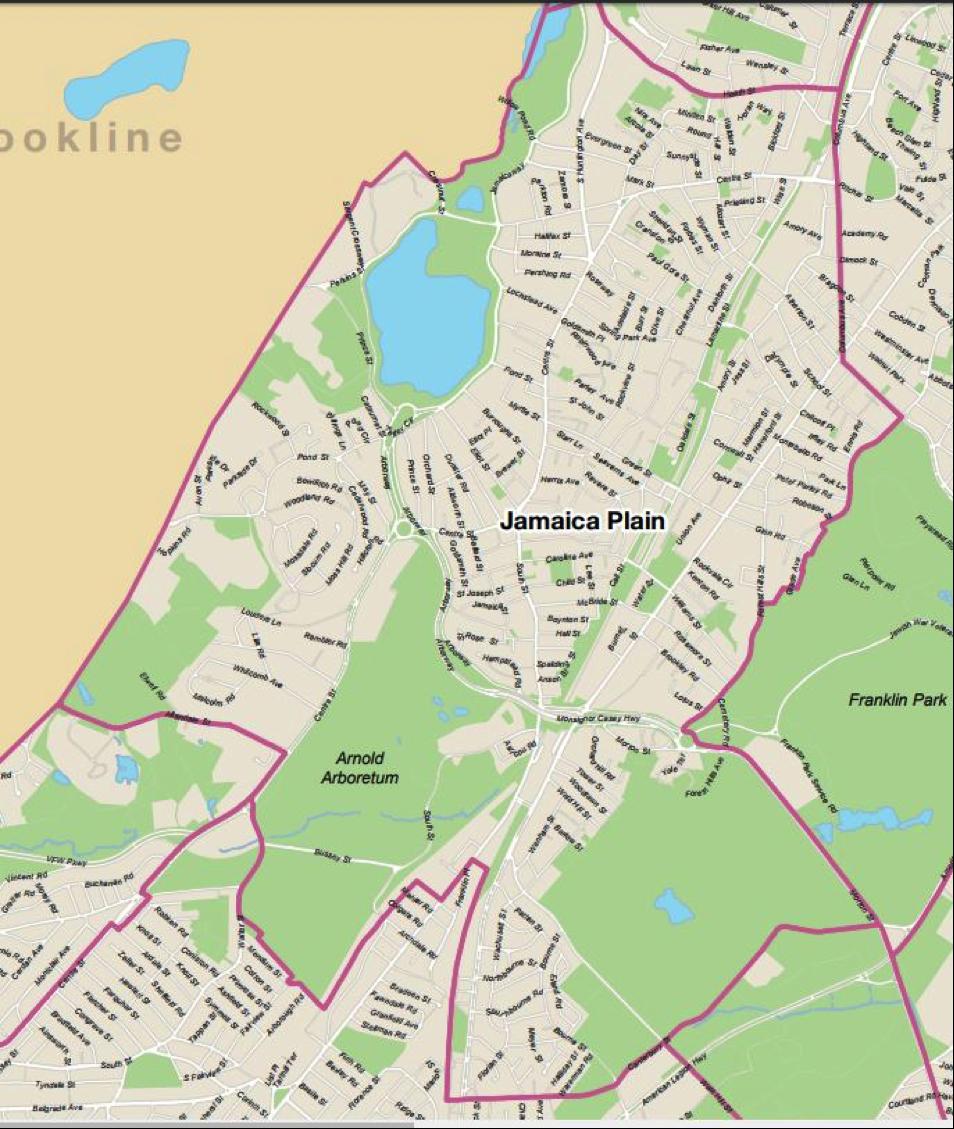 Map of Jamaica Plain, Boston Planning and Development Agency