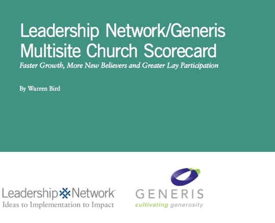"""Bird, Warren. """"Leadership Network/Generis Multisite Church Scorecards: Master Growth, More Believers and Greater Lay Participation."""" Leadership Network, 2014."""