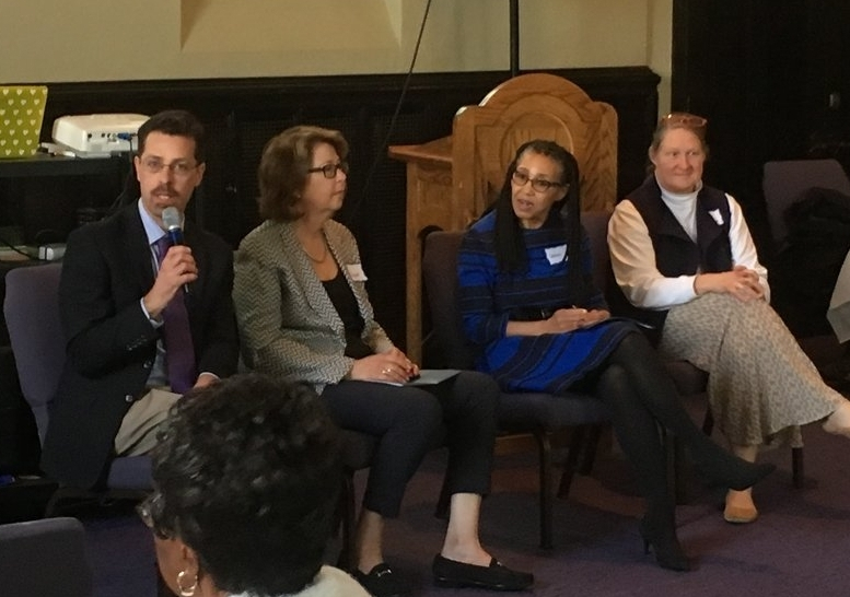 Panel discussion: (left to right) Dr. Michael Balboni (speaking), Dr. Janet Abrahms, Dr. Gloria White-Hammond, and Dr. Alexandra Cist.