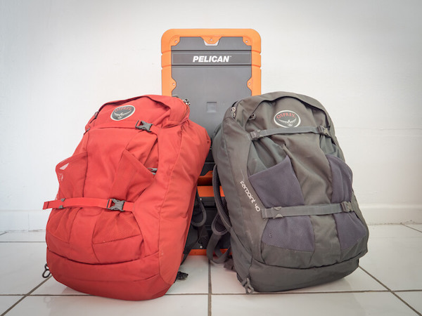 Everything we travel with fits in these two backpacks and two carry-on suitcases.