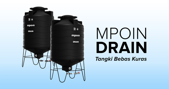 Tandon Air MPOIN DRAIN - Produk Toren Air Bebas Kuras Tangki Air Anti Lumut, Anti Pecah, Anti Bakteri