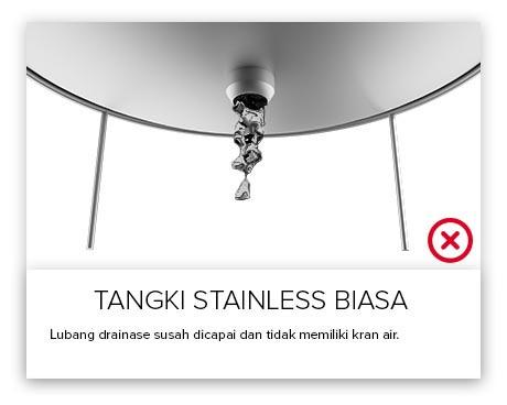 Tangki Air, Tandon Air, Toren Air, Pipa PVC - Tangki Air Stainless Outlet Biasa
