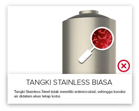 Tangki Air, Tandon Air, Toren Air, Pipa PVC - Tangki Air Stainless Tidak Anti Bakteri