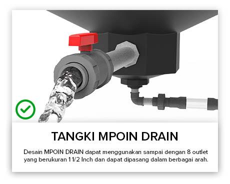 Tangki Air, Tandon Air, Toren Air, Pipa PVC - Tangki Air MPOIN DRAIN Outlet Lebih Besar