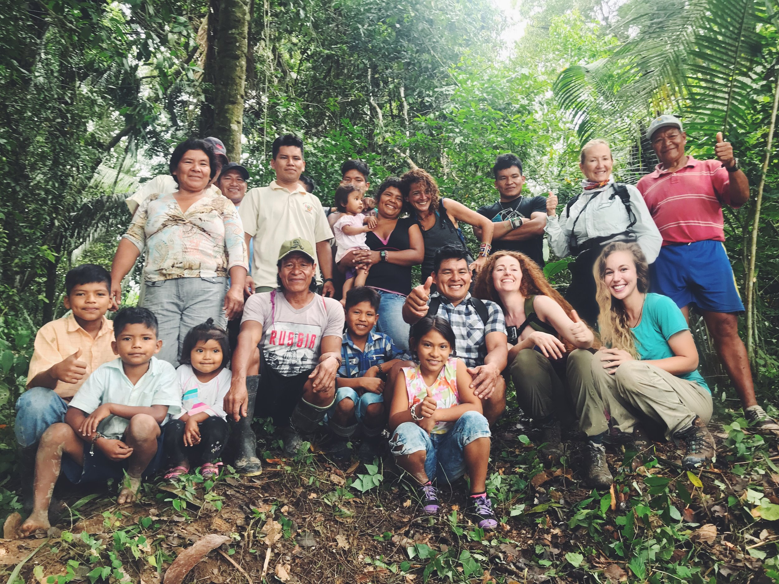 Pictured: Members of the community of Lucerna, Peru, with executive director Samantha Zwicker and Hoja Nueva team members