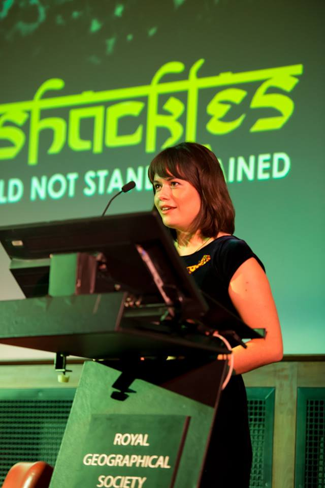 Fraser speaking at the Royal Geographic Society