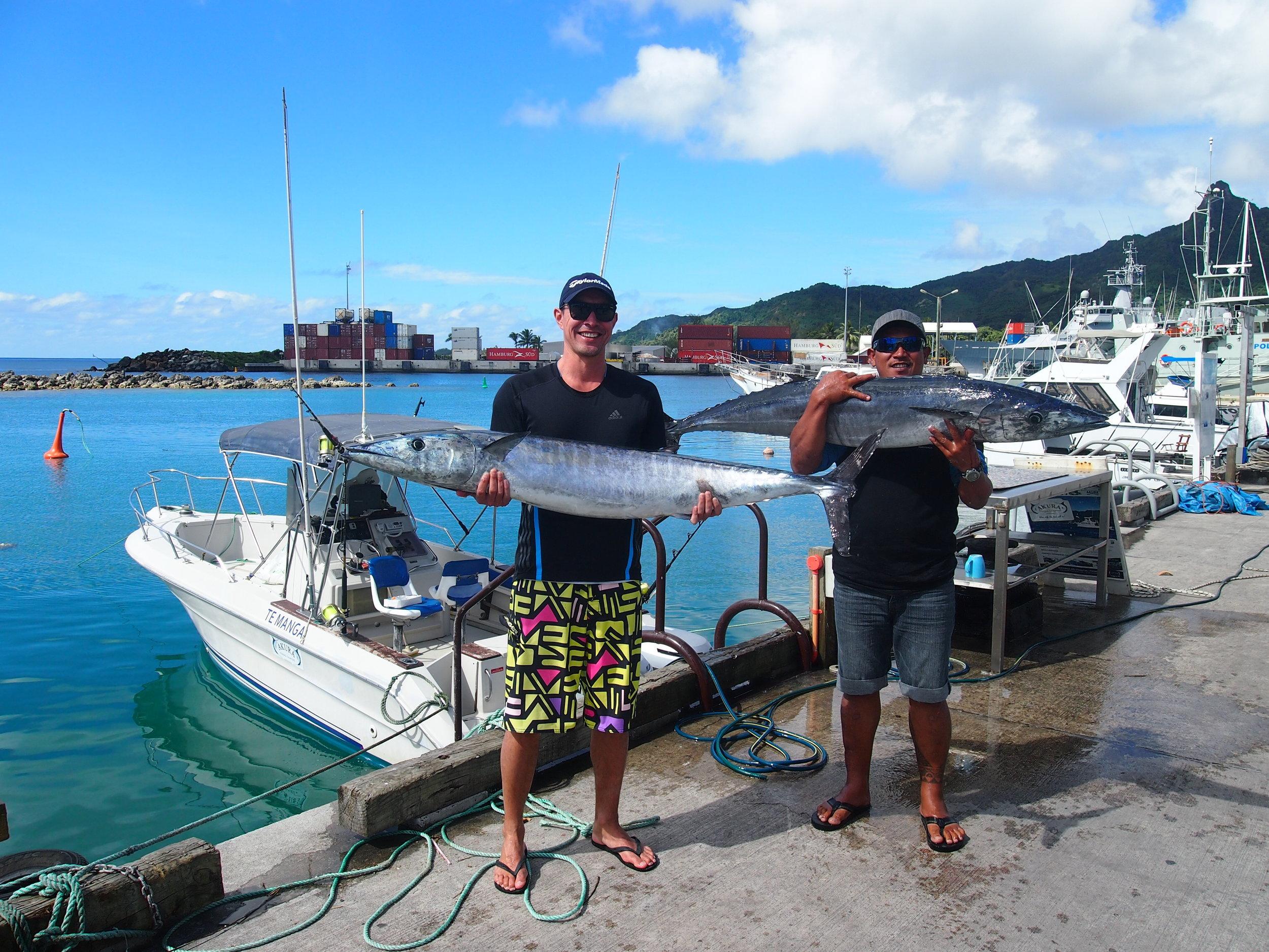 Wahoo double strike with Akura Charters, Rarotonga