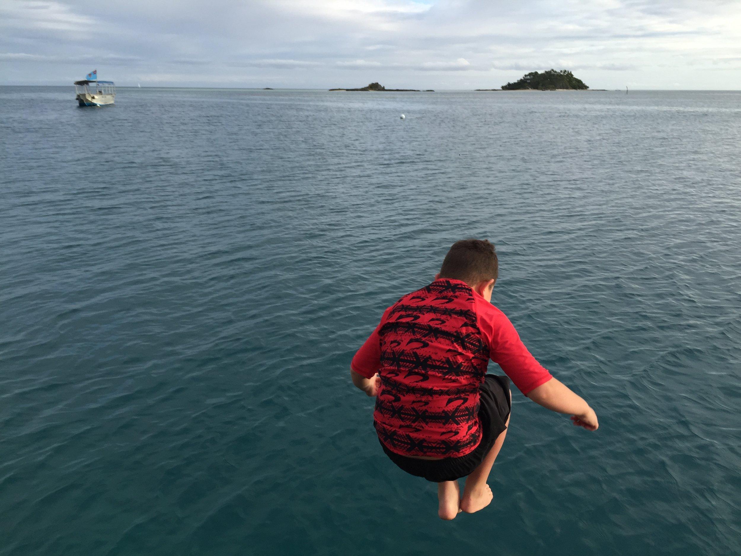 Taine jetty jumping at Malolo Island Resort, Fiji
