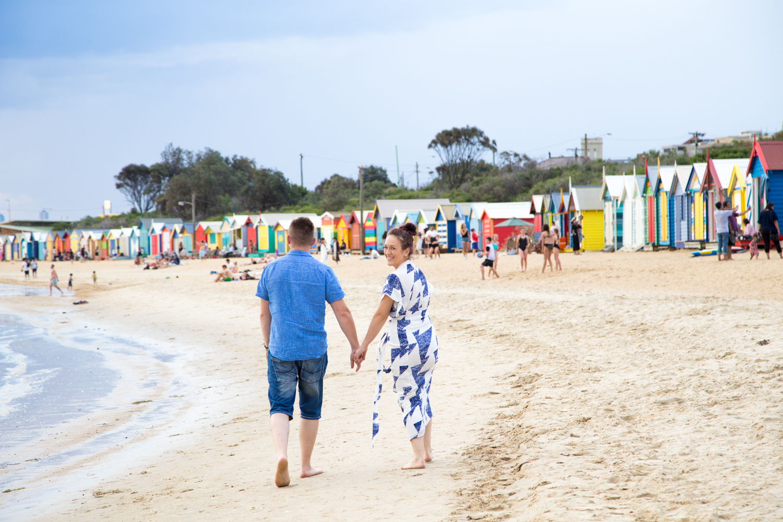 Melbourne wedding photographer Brighton beach Mornington Peninsula engagement photoshoot love romantic sunset boxes bathing houses Dandenong Ranges Yarra Valley Eastern Suburbs