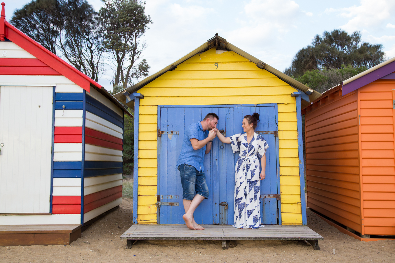 Melbourne wedding photographer Brighton beach Mornington Peninsula engagement photoshoot love romantic sunset boxes bathing houses Dandenong Ranges Yarra Valley Eastern Suburbs bright colours happy