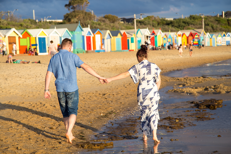 Melbourne wedding photographer Brighton beach Mornington Peninsula engagement photoshoot love romantic sunset boxes bathing houses Dandenong Ranges Yarra Valley Eastern Suburbs stormy clouds summer autumn