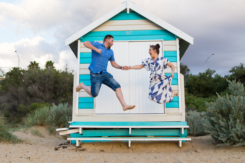 Melbourne wedding photographer Brighton beach Mornington Peninsula engagement photoshoot love romantic sunset boxes bathing houses Dandenong Ranges Yarra Valley Eastern Suburbs stormy clouds fun
