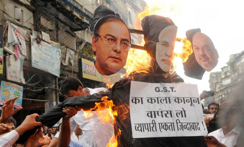 File photo of GST protests - courtesy @Firstpost.in archives